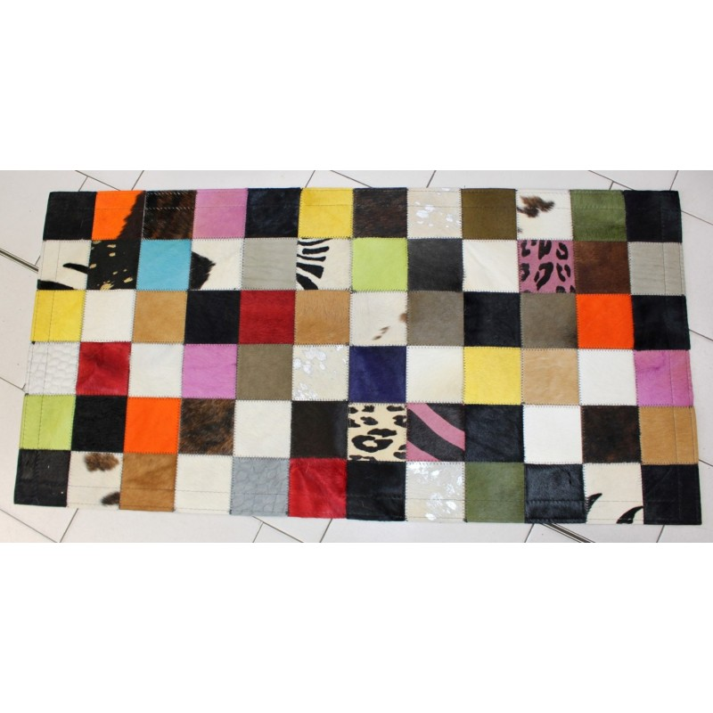 tapis multi couleurs en peau de vache 60 x 120 cm. Black Bedroom Furniture Sets. Home Design Ideas