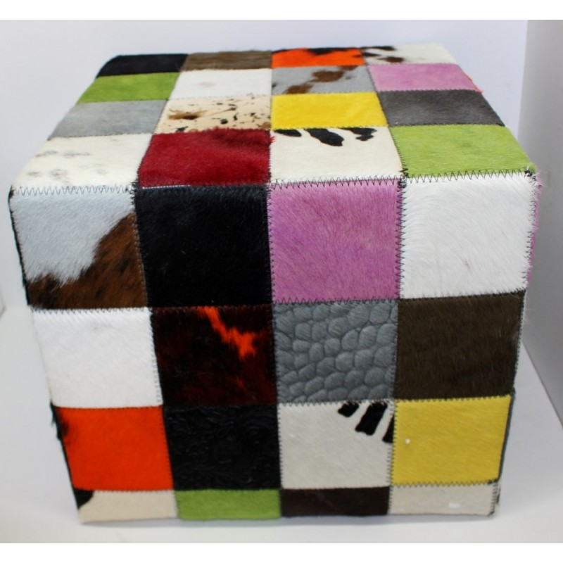 pouf en peau de vache multi couleurs 40 x 40 cm. Black Bedroom Furniture Sets. Home Design Ideas