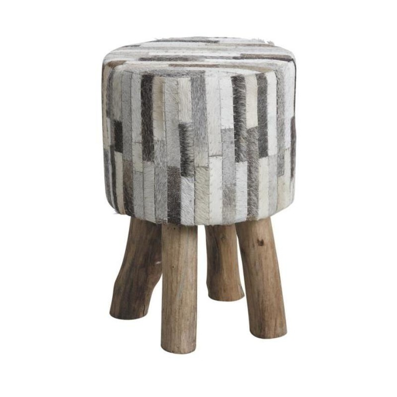 tabouret en peau de vache bande gris beige. Black Bedroom Furniture Sets. Home Design Ideas