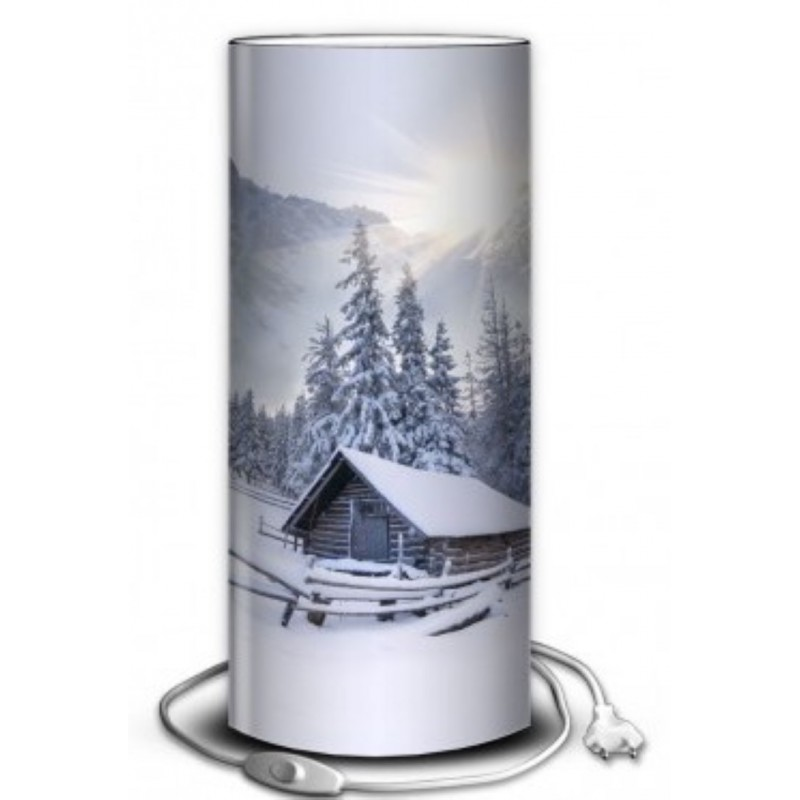 lampe tube montagne chalet sous la neige. Black Bedroom Furniture Sets. Home Design Ideas