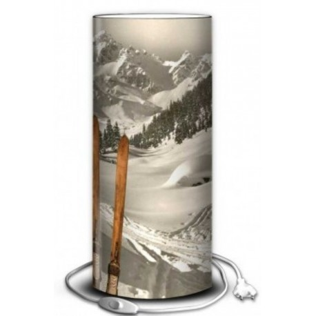 Lampe Tube Montagne décor SKIS