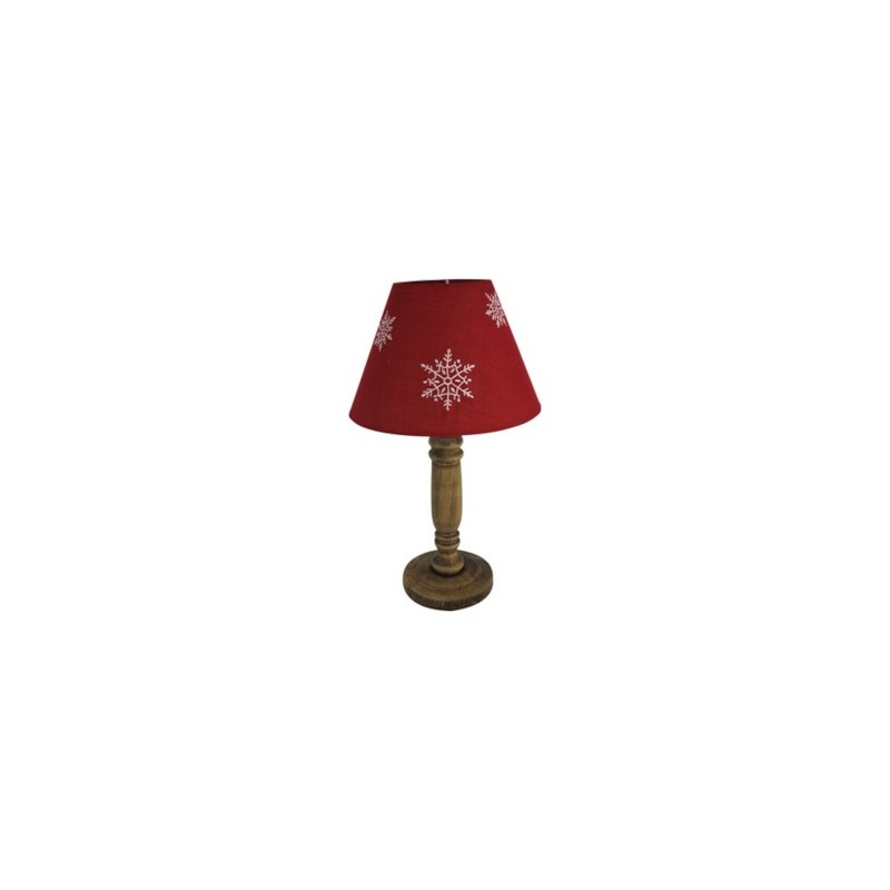 lampe poser pied bois abat jour rouge flocons hauteur 40 cm s. Black Bedroom Furniture Sets. Home Design Ideas
