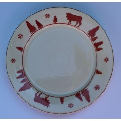Lot de 6 assiettes Plates Montagne VACHES ROUGES 27 cml