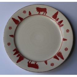 Lot de 6 Assiettes à Dessert Montagne en faience VACHES ROUGES 27 cm