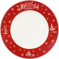 Assiette Plate en Porcelaine CHALET ROUGE 27 CM lot de 6