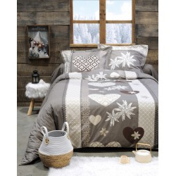 Housse de couette et 2 taies ENGALY TAUPE 240 X 220 CM
