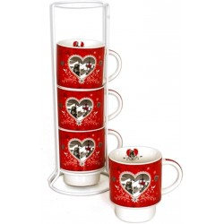 Set de 4 tasses  sur support MARMOTTE ROUGE  h 27 x diam. 8 cm