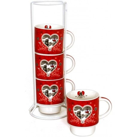 Set de 4 tasses expresso sur support REFUGE h 17 x diam. 6 cm