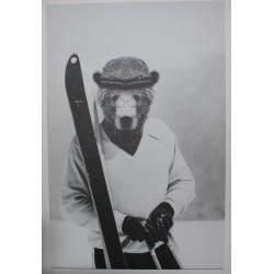 Toile sur chassis OURS AUX SKIS 117 X 77 CM