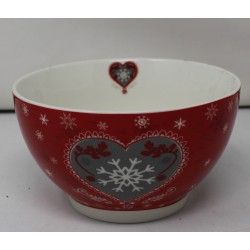 Bol porcelaine COEUR HARTY rouge