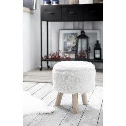 Tabouret fourrure blanc WINTER